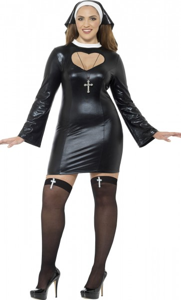 Sexy Plus Size Lederoptik Nonnen Kostüm