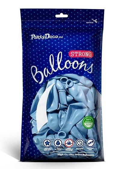 50 globos metalizados Partystar azul pastel 27cm