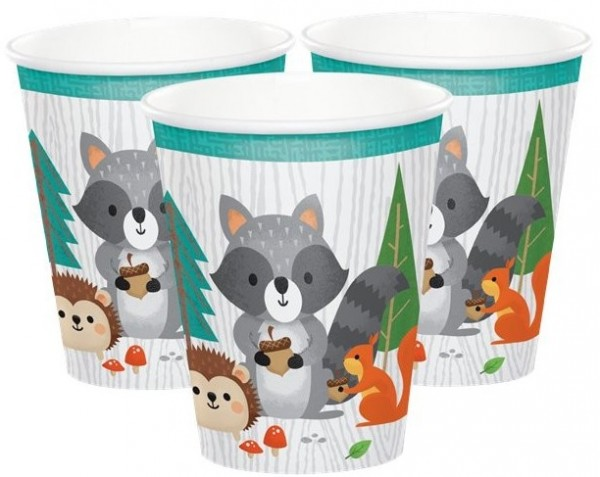 8 cute forest animals paper cups 256ml