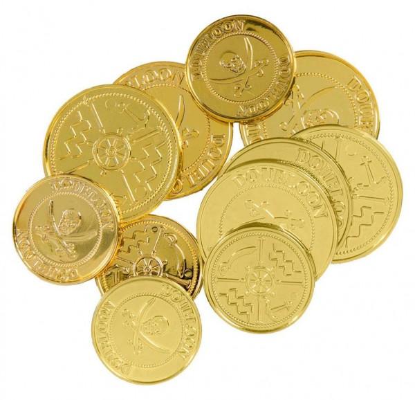 12 Goldmünzen Piratenschatz Set für Kinder
