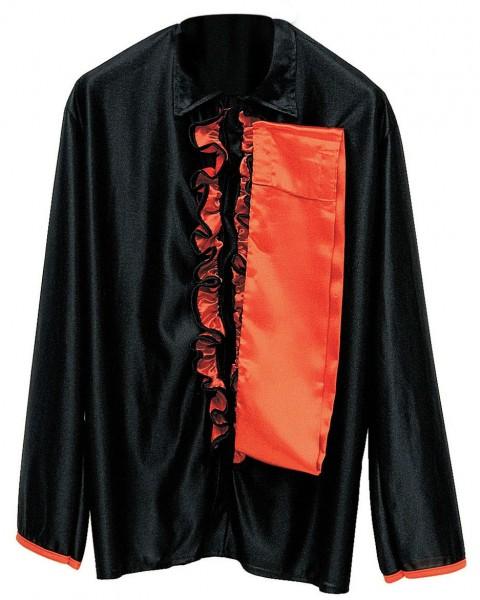 Schwarzes Flamenco Tänzer Rüschenhemd