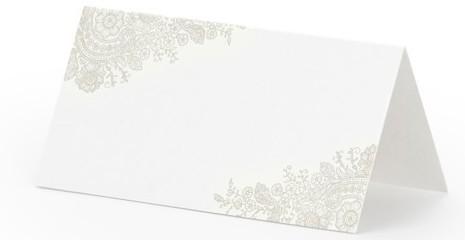 25 Tischkarten mit beigen Ornamenten