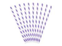 10 gestreifte Papier Strohhalme lila 19,5 cm