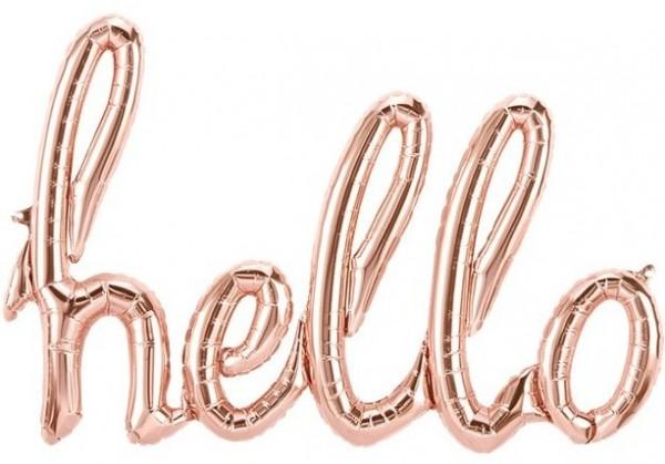 Hello Schriftzug Folienballon Roségold 79 x 51cm