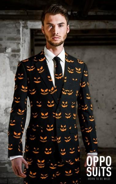Completo uomo Opposuits nero-arancione