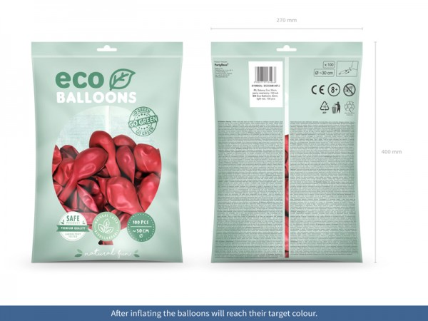100 Eco metallic Ballons koralle 30cm