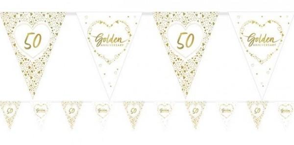 Złoty łańcuszek z proporczykiem na 50 rocznicę ślubu 3,7m