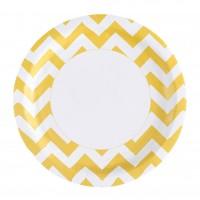 8 Süße Zacken Pappteller gelb 23cm