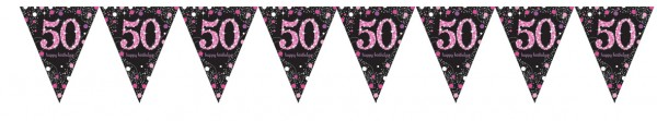 Pink 50th Birthday pennant chain 4m
