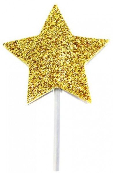 12 golden star cake decorations 6.5cm