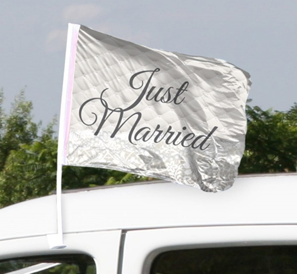 2 Autoflaggen Just Married creme
