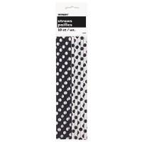 10 gepunktete Papier Strohhalme schwarz weiß