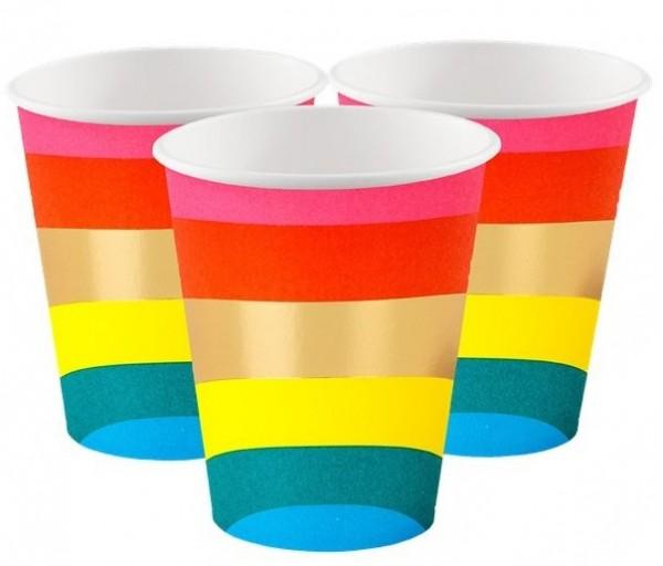 12 Rainbow Splash paper cups 266ml