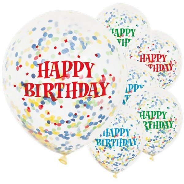6 Birthday Celebrations Confetti Balloons 30cm