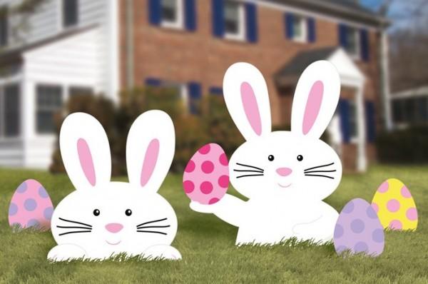 5 présentoirs de pelouse de lapin de Pâques