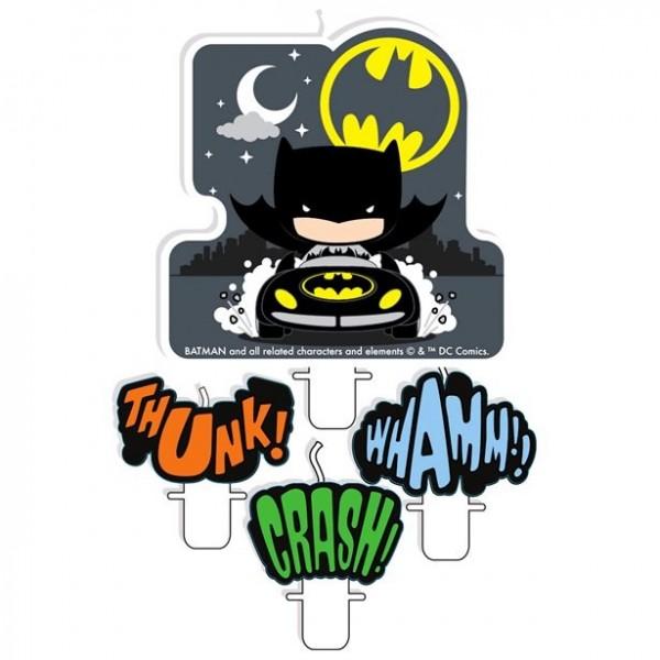 4 Batman und Joker Comic Tortenkerzen
