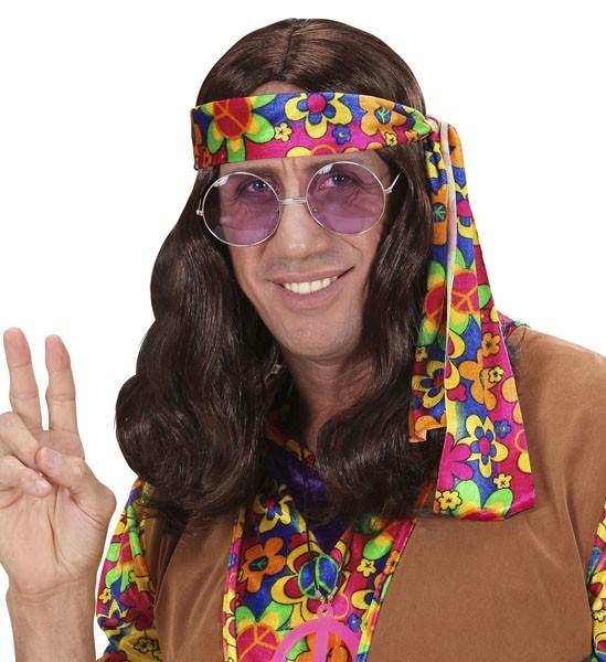Perruque hippie marron