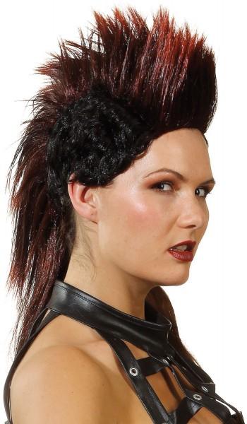 Punk Iroquois pruik zwart-rood