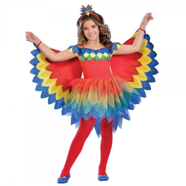 Rainbow parrot costume for girls