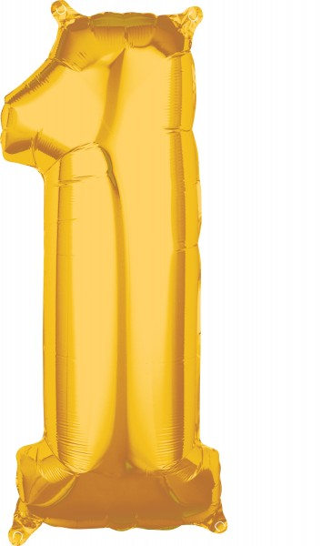 Number balloon 1 in gold 27 x 66cm