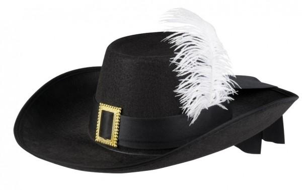 Schwarzer Musketier Hut mit Feder