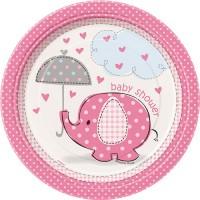 8 Elefanten Baby Party Pappteller Rosa 18cm