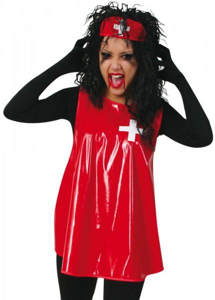 Verrückte Krankenschwester Maria Lackkostüm Für Damen