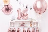 Vorschau: Metallic Zahlenballon 6 roségold 35cm