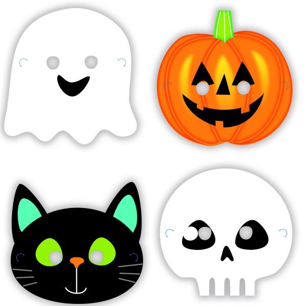8 Halloween Freunde Pappmasken 16 x 23cm