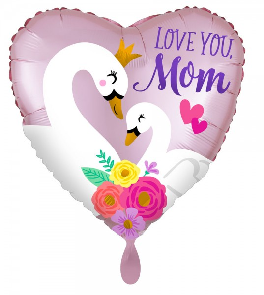 Love you Mom ballon en aluminium coeur cygne 43cm