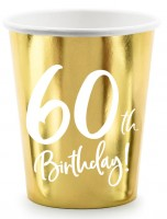 6 Glossy 60th Birthday Becher 220ml