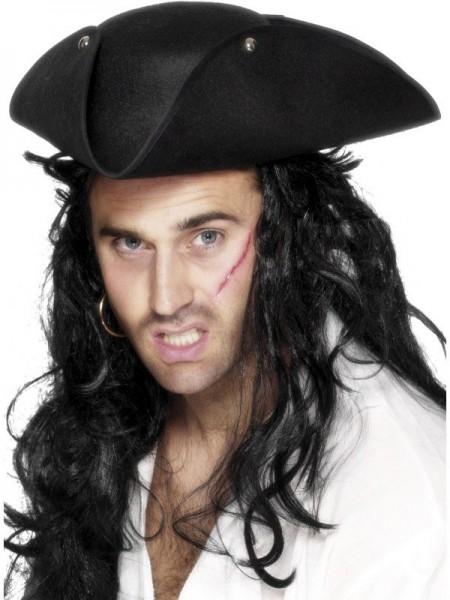 Piraten Dreispitz Hut Schwarz