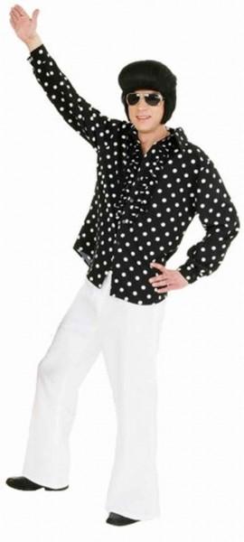 Polka Dots 50er Jahre Rüschenhemd Für Herren