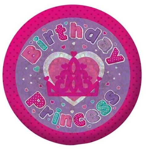 Holografischer Birthday Princess Button 5,5cm