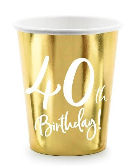 6 Glossy 40th Birthday cups 220ml