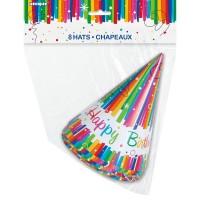 8 Rainbow Swirl Happy Birthday Partyhüte 15cm