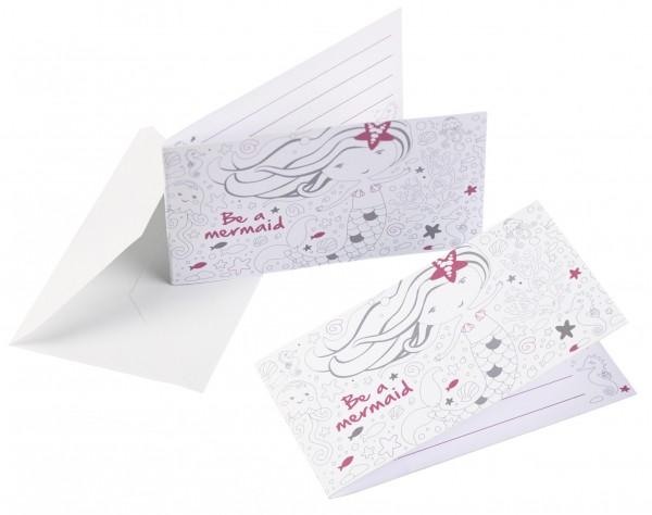 8 Einladungskarten Sei eine Meerjungfrau