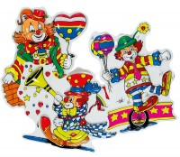 Lustige Clowns Wanddeko 3er-Set