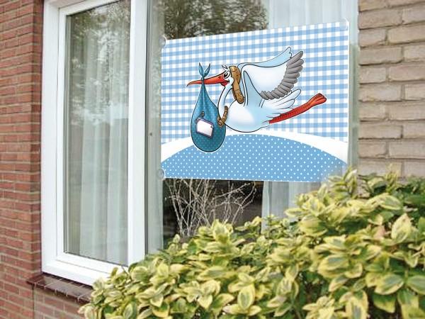Fensterfahne Klapperstorch Babyblau
