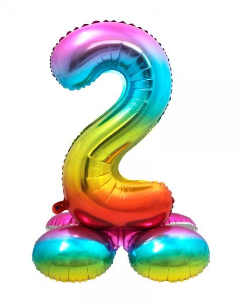 AirLoonz Regenbogen Zahl 2 Ballon 81cm