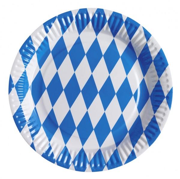 8 Bayrische Oktoberfest Pappteller 23cm