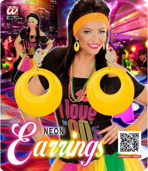 80er Jahre Ohrringe Neon Gelb