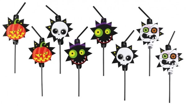 8 Monster Parade Straws 24cm
