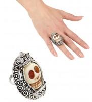 Weißer Kronen Totenkopf Ring