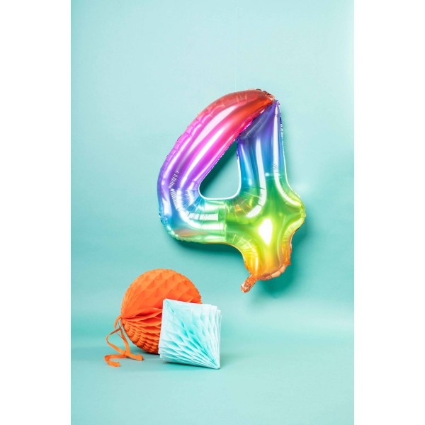 Number 4 Super Rainbow Foil Balloon 86cm