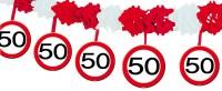 Verkehrsschild 50 Girlande 4m