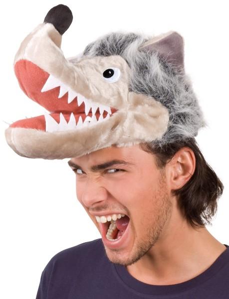 Plüschige Wolfskopfmütze
