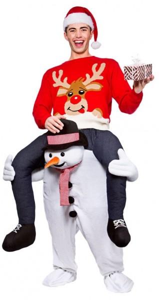 Sneeuwpop Piggyback kostuum voor volwassenen