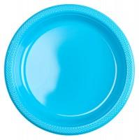 20 Plastik-Teller in Azurblau 22,8cm