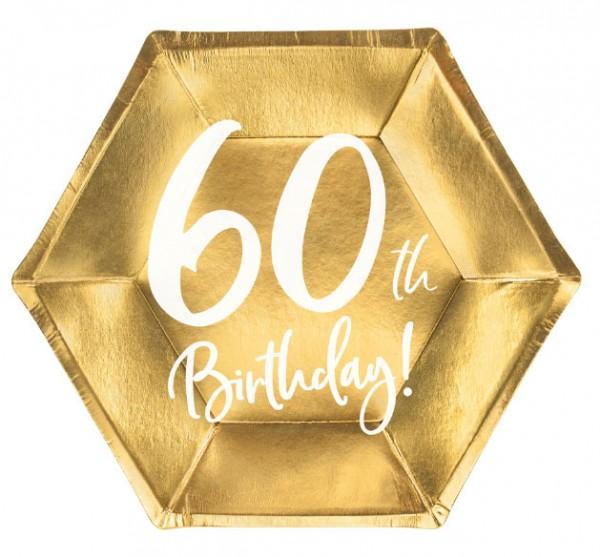 6 assiettes brillantes 60e anniversaire 20x17cm
